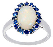 Australian Opal and Precious Gemstone Ring 14K Gold 0.45 cttw - J329470