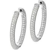 Diamonique Pave Hoop Earrings, Sterling or 18K Plated - J329870