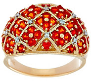 Pave Mexican Fire Opal Domed Band Ring, 14K Gold 1.00 cttw - J330170