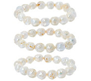Honora White Ming Cultured Pearl Set of 3 Stretch Bracelets - J330370
