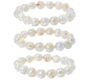 Honora White Ming Cultured Pearl Set of 3 Stretch Bracelets - J330370