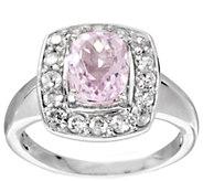 As Is 2.20 ct tw Cushion Cut Kunzite & White Zircon Sterling Ring - J330970