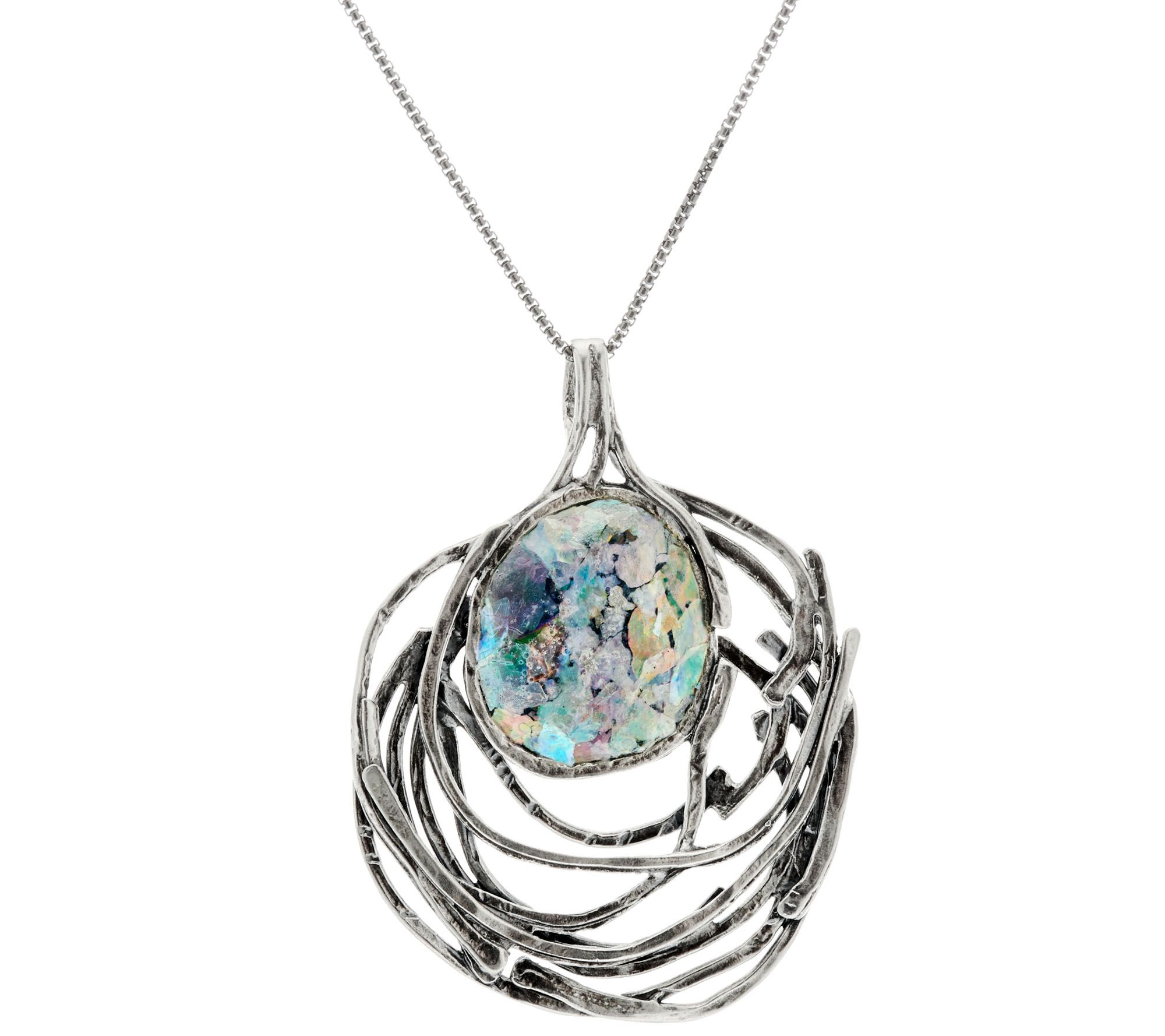 sterling openwork glass pendant w chain by or paz