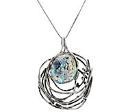 Sterling Openwork Roman Glass Pendant w/Chain by Or Paz - J331470