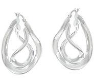 As Is UltraFine Silver Twisted Hoop Earrings - J331970