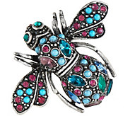 As Is Joan Rivers Simulated Turquoise Cluster Bee Pin - J332870