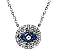 As Is Stainless Steel Crystal Evil Eye Necklace w/ 2 Extender - J334170