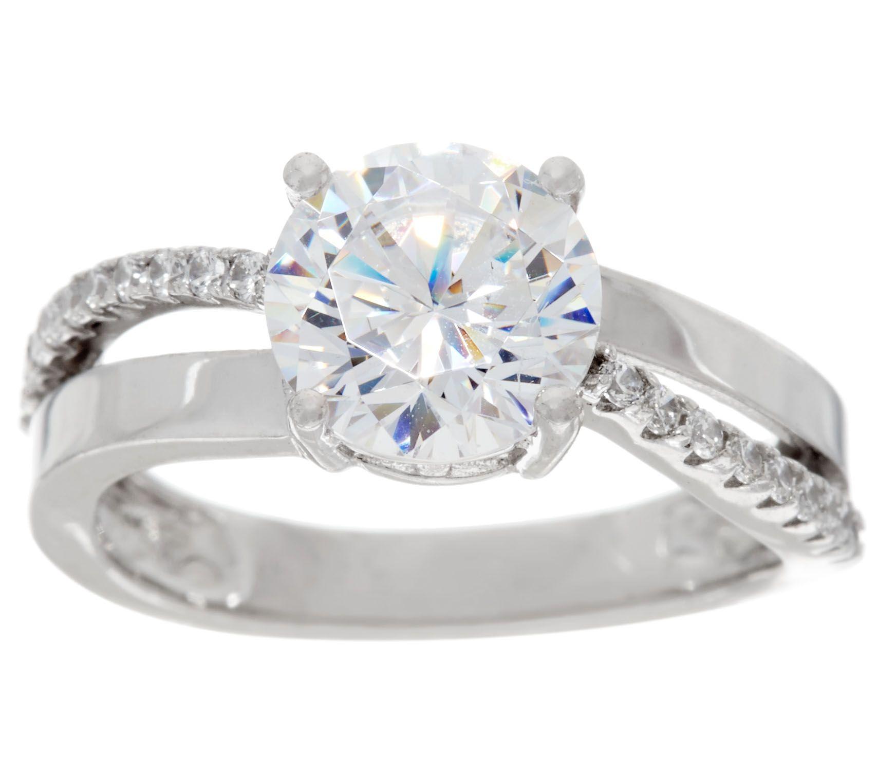 quot as is quot diamonique split shank bridal ring platinum clad