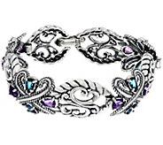 Carolyn Pollack Sterling Silver Multi Gemstone 6.00cttw Link Bracelet - J334770
