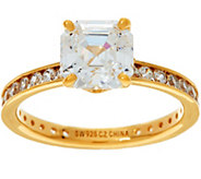 Diamonique Solitaire Eternity Ring, 14K Yellow Clad - J335570