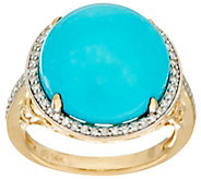 Round Sleeping Beauty Turquoise & Diamond Ring 14K Gold - J335670