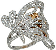 Diamonique Two-Tone Butterfly Ring, Sterling - J347070