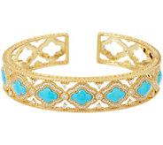 Judith Ripka 14K Clad Diamonique & Turquoise Cuff Bracelet - J348370