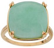Burmese Jade Bold Cushion Cut Ring 14K Gold - J350670