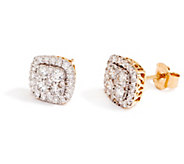 Ships 6/9 Cushion Cluster Diamond Stud Earrings, 14K, 1.00cttw - J356270