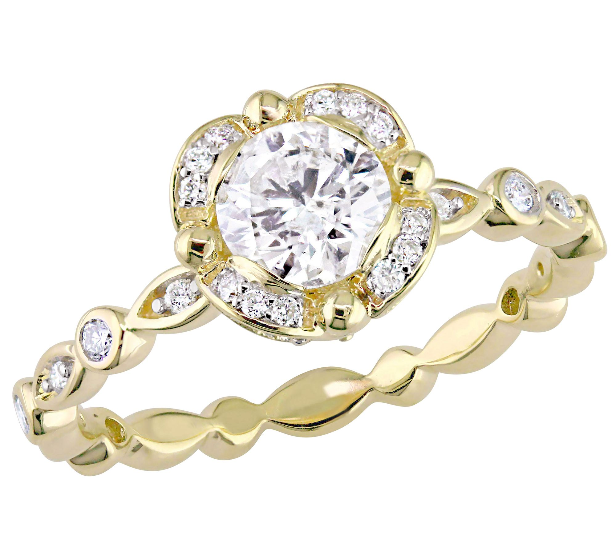 scalloped engagement ring 14k 1 cttw by affinity