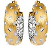 14K Satin & Diamond-Cut Inside-Out Hoop Earrings - J376670