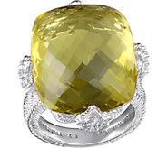 Judith Ripka Sterling Lemon Quartz & DiamoniqueRing - J377170
