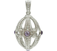 Judith Ripka Sterling Oval Gemstone & Diamonique Enhancer - J378270