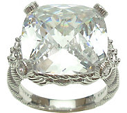 Judith Ripka Sterling Cushion Diamonique Ring - J379470