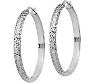 Italian Silver Large Round & Textured Hoop Earrings, Sterling - J379670