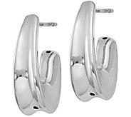 Italian Silver Demi Hoop Earrings, Sterling - J379870