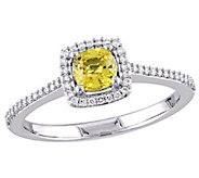 14K Gold Cushion-Cut Yellow Sapphire & DiamondHalo Ring - J382470