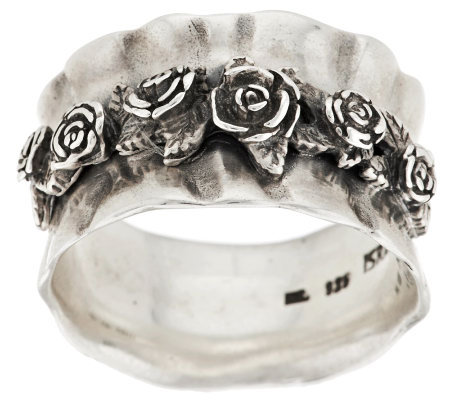 Sterling Silver Gathered Rose Ring by Or Paz
