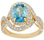 2.20 ct Blue Zircon & 1/4 ct tw Diamond Ring 14K Gold - J268971