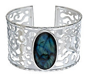 VicenzaSilver Sterling Large Oval Labradorite Scroll Cuff - J272071