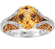 3.50 ct tw Citrine & Diamond Cut White Topaz Sterling Ring - J277171