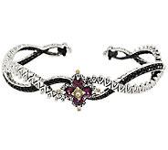 Barbara Bixby Sterling & 18K Garnet & Black Sapphire Flower Cuff Bracelet - J285571