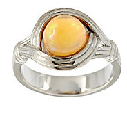 Ethiopian Opal Round Sterling Textured Ring - J285871