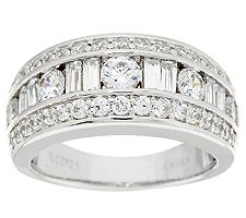 Epiphany Diamonique 1.80cttw Baguette & Round Band Ring