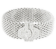 VicenzaSilver Sterling 7-1/4 Mesh Bracelet with Crystal Magnetic Clasp - J290271