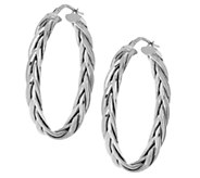 Italian Silver Sterling 1-1/2 Braided Oval Hoop Earrings - J291871