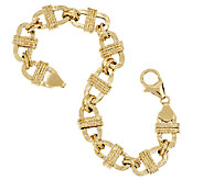 Vicenza Gold 7-1/4 Textured Oval Wrapped Status Bracelet 14K Gold, 6.9g - J292371