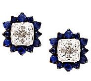 Michael Beaudry 4/10 cttw Diamond & .70 cttw Sapphire Halo Stud, 14K - J294471