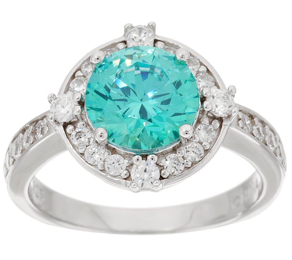 Diamonique & Simulated Apatite Halo Ring, Sterling - Page 1 — QVC.com