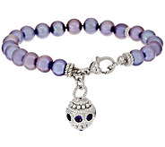 Judith Ripka Sterling Cultured Pearl 8 Bracelet with Charm - J295471