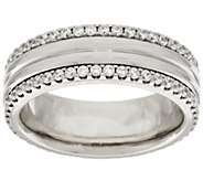 Stainless Steel Crystal Border Polished Ring - J296671