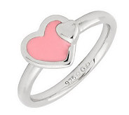 Simply Stacks Sterling Polished & Epoxy EnamelHeart Ring - J299171