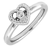 Simply Stacks Sterling Heart Ring with DiamondCenter - J299271