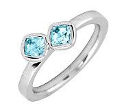 Simply Stacks Sterling Blue Topaz Double-SquareGemstone Ring - J299371