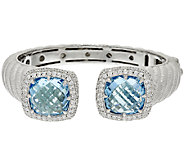 Judith Ripka Sterling & Blue Topaz 21.50 cttw Hinged Cuff - J317771