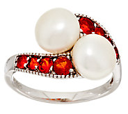 As Is Honora Cultured Pearl 8.0mm & Fire Opal Sterling Ring - J319571