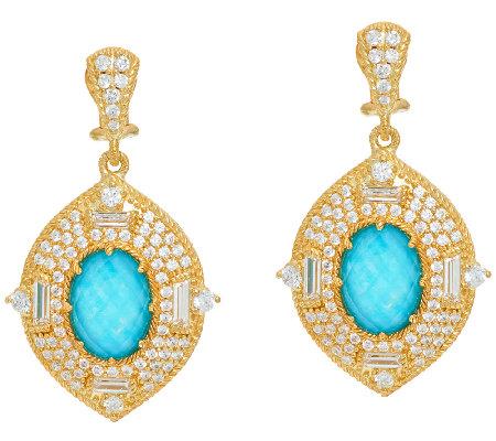 judith ripka 14k clad 4 60 cttw diamonique earrings qvc