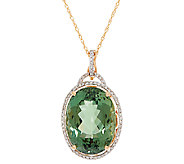 Green Apatite and Diamond Enhancer w/ 18 Chain, 14K 16.00 cts - J323371