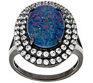 Graziela Gems Australian Opal Triplet & White Zircon Sterling Ring - J324571
