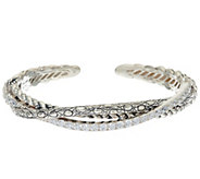 JAI Sterling & Diamonique Open Work Hill Tribe Cuff Bracelet - J325171